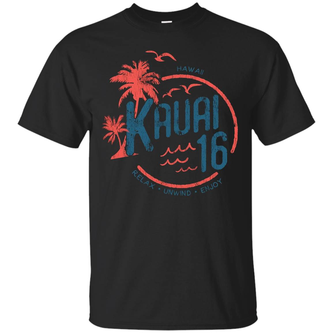Kauai Hawaii 2016 Vintage Distressed Beach and Palm Tee – T-Shirt