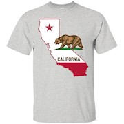 California State Map – Cali Bear Men's T-shirt – T-Shirt