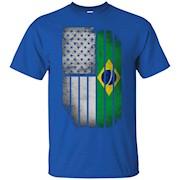 Brazilian American Flag – Half Brazilian Half American Shirt – T-Shirt