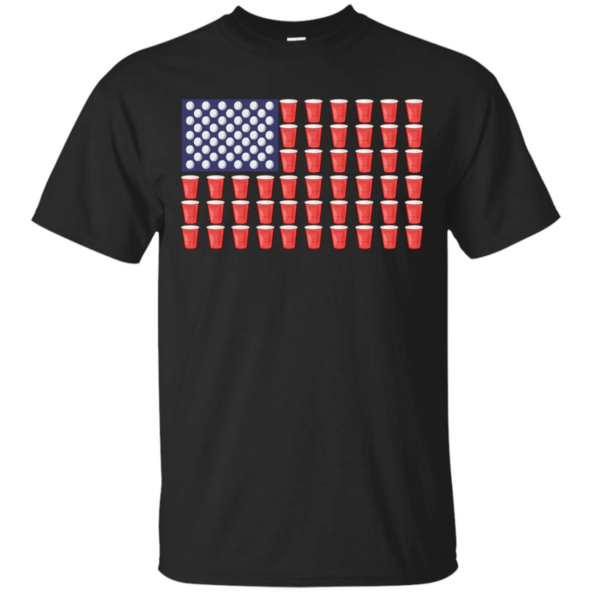Beer Pong Red Solo Cup American Flag Funny Beer Shirts – T-Shirt
