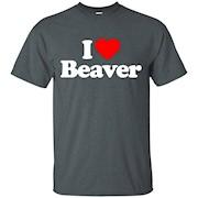 I Love Heart Beaver Funny T-Shirt