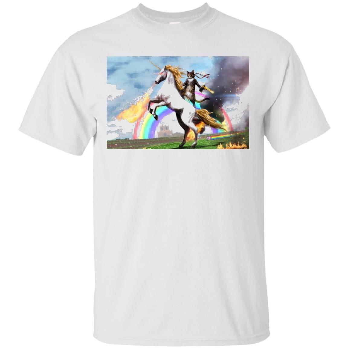 Cat Riding Fire Breathing Unicorn T-Shirt
