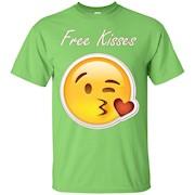 Free Kisses Emoji T-Shirt Kissy Face Smiley Hugs Kissing