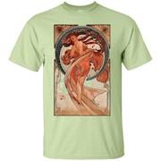 Girly Dancer Victorian Art Nouveau Alphonse Mucha T shirt – T-Shirt