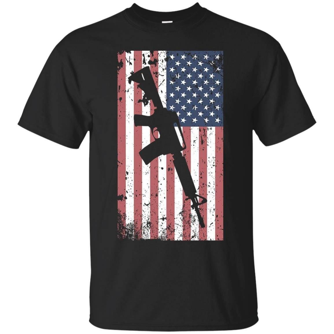 AR-15 Rifle American Flag T-Shirt Distressed Army Gun Tee
