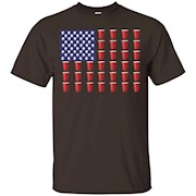 Beer Pong Red Solo Cup American Flag T Shirt July 4th – T-Shirt