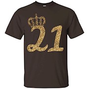 21st Birthday T-Shirt for Her Crown Gold Glitter Texture