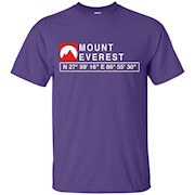 COOL MOUNT EVEREST MOUNTAIN T-SHIRT WITH GPS COORDINATES – T-Shirt