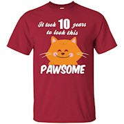 10th Birthday Shirt It Took 10 Years To Look Pawsome Cat Tee – T-Shirt