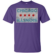 Chicago Illinois Flag Color Tee Shirt for Men Women and Kids – T-Shirt