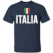 ITALIA T-Shirt Italian Flag Italy Royal Blue Tee Soccer