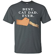 Best Cat Dad Shirt- Father & Kitty Paw Fist Bump Tee – T-Shirt