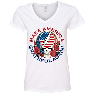 Make Grateful Again – America – Ladies' V-Neck T-Shirt
