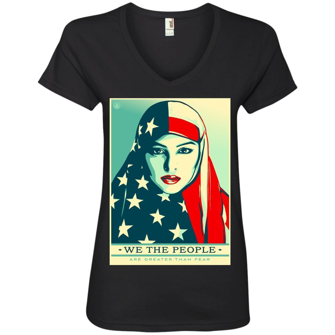 we the people are greater than fear – Anvil Ladies' V-Neck T-Shirt