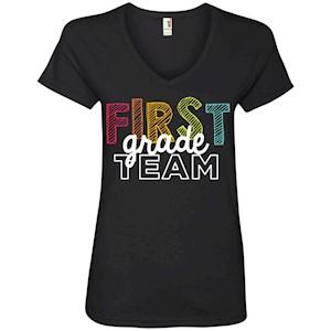 First Grade Team Shirts –  Ladies' V-Neck T-Shirt