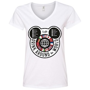 Drink Around the World – EPCOT Checklist – Ladies' V-Neck T-Shirt