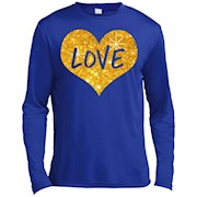 Valentines Day Shirt For Women Girls Love Gold Heart LS T-Shirt