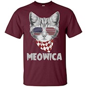 Meowica USA American Flag Cat, 4th Of July T Shirt – T-Shirt