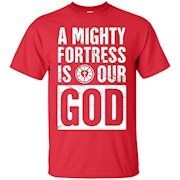 """A Mighty Fortress Is Our God"" Distressed Lutheran T-Shirt"