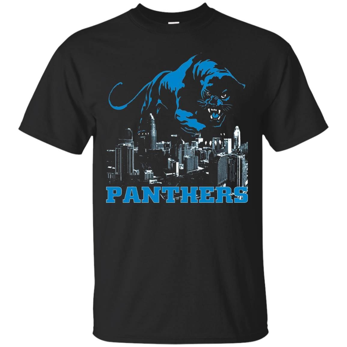 Panthers Sports Gear Football T-Shirt Over Carolina City
