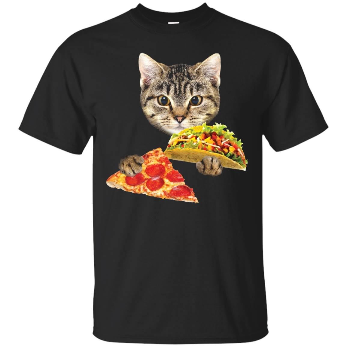Cat Eating Taco and Pizza Shirt, Funny Kitty by Zany Brainy