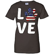 Patriotic American Flag Dog Love Owner Paw Print T-Shirt Tee