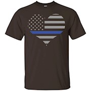 Police Tees- Thin Blue Line Heart Emblem Support Cops