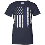 Thin Blue Line American Flag Police shirt BLUE LIVES MATTER
