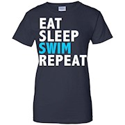 Eat Sleep Swim Repeat Funny T-shirt Swimming Swimmer Diver