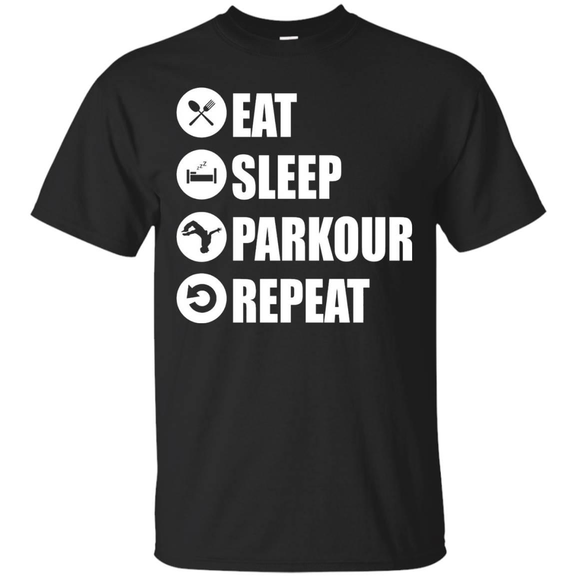 Parkour Shirt Eat Sleep Parkour Repeat Men Women Kid Black