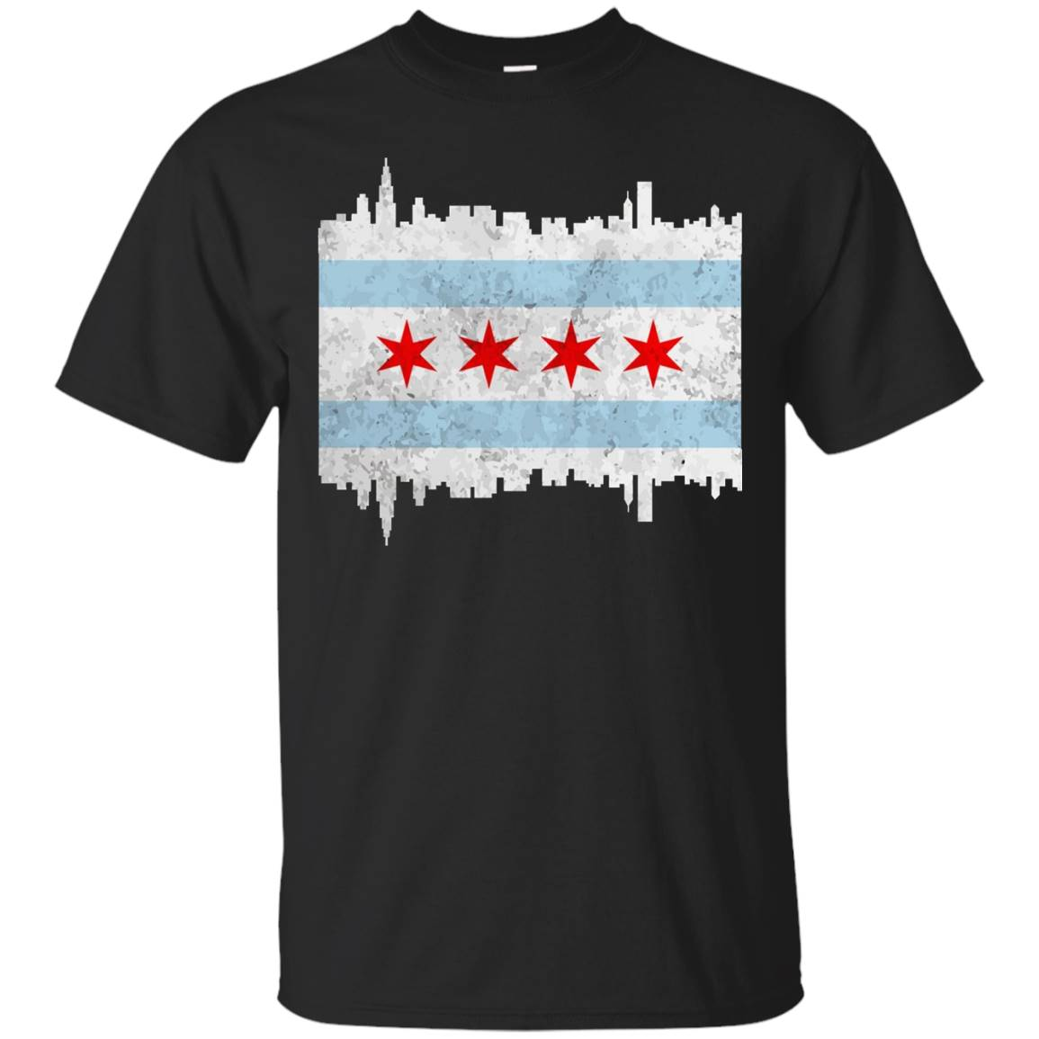 Chicago Illinois Flag T-shirt Vintage IL City Gift Shirt