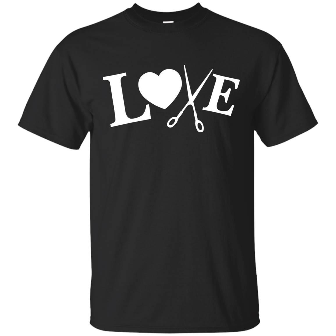 Love Heart Scissors HAIR STYLIST Hairdresser Shirt