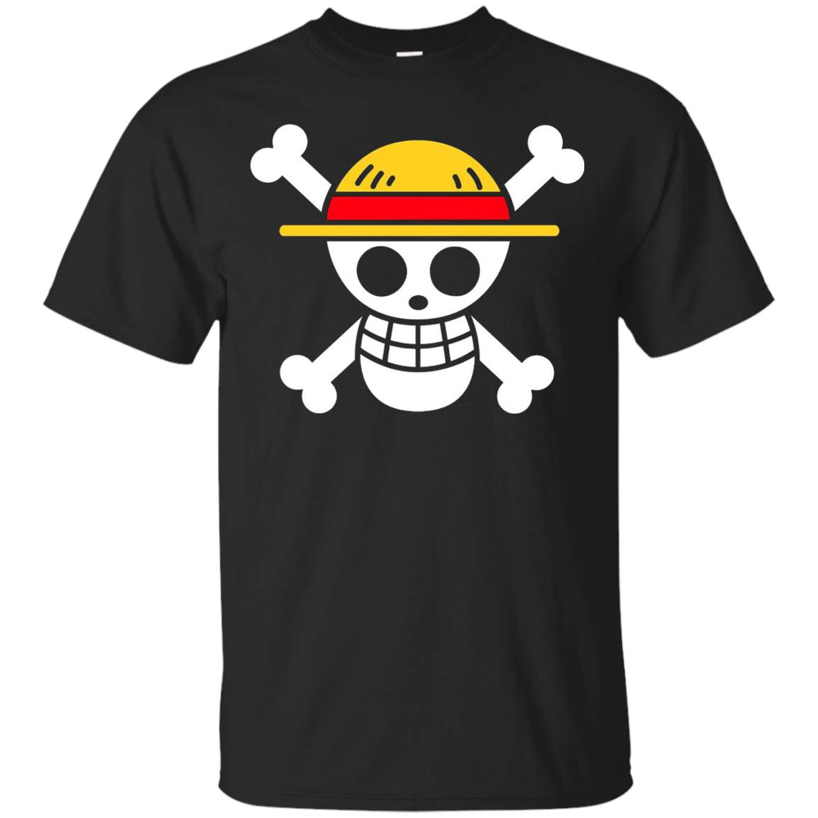 Men's One Piece Luffy Jolly Roger Straw Hat Pirate T Shirt