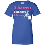 3 Barrels 2 Hearts 1 Dream Barrel Racing Horse Riding Rodeo T-Shirt