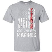 US American Flag T-shirt for U.S. Marines Veterans Red Line – T-Shirt