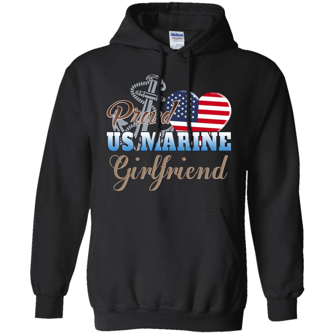 Proud US Marine Girlfriend T-Shirt – Marine Patriotic Heart – Hoddie