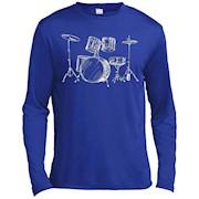 Drum Kit Drummers Gift Musical Instrument TShirt Music Rock – Long Sleeve Tee