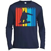 Retro 1970's Style Snowboarder Silhouette Snowboarding Shirt – Long Sleeve Tee