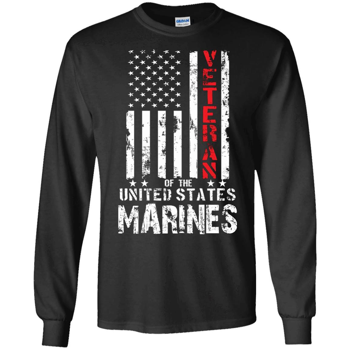 US American Flag T-shirt for U.S. Marines Veterans Red Line – Long Sleeve Tee