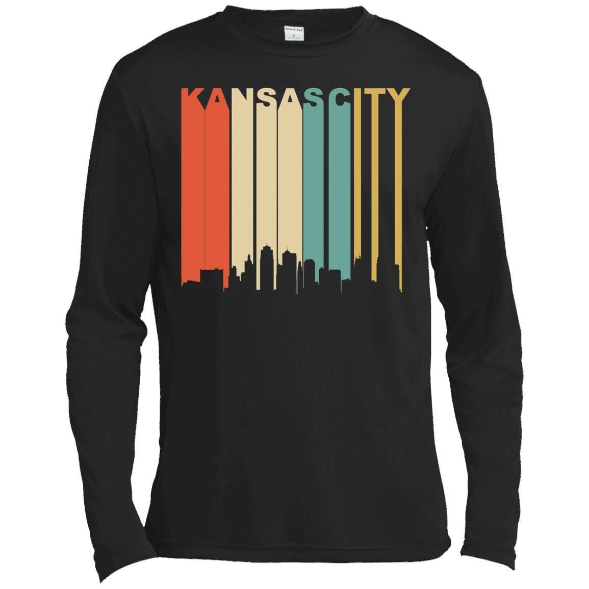 Retro 1970's Kansas City Missouri Downtown Skyline T-Shirt – Long Sleeve Tee