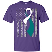 Cervical Cancer Awareness Shirt. American Flag T-Shirt