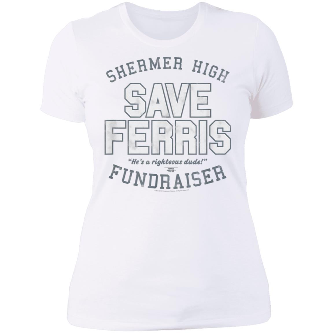 Ferris Bueller Shermer High Save Ferris Ladies' Boyfriend T-Shirt