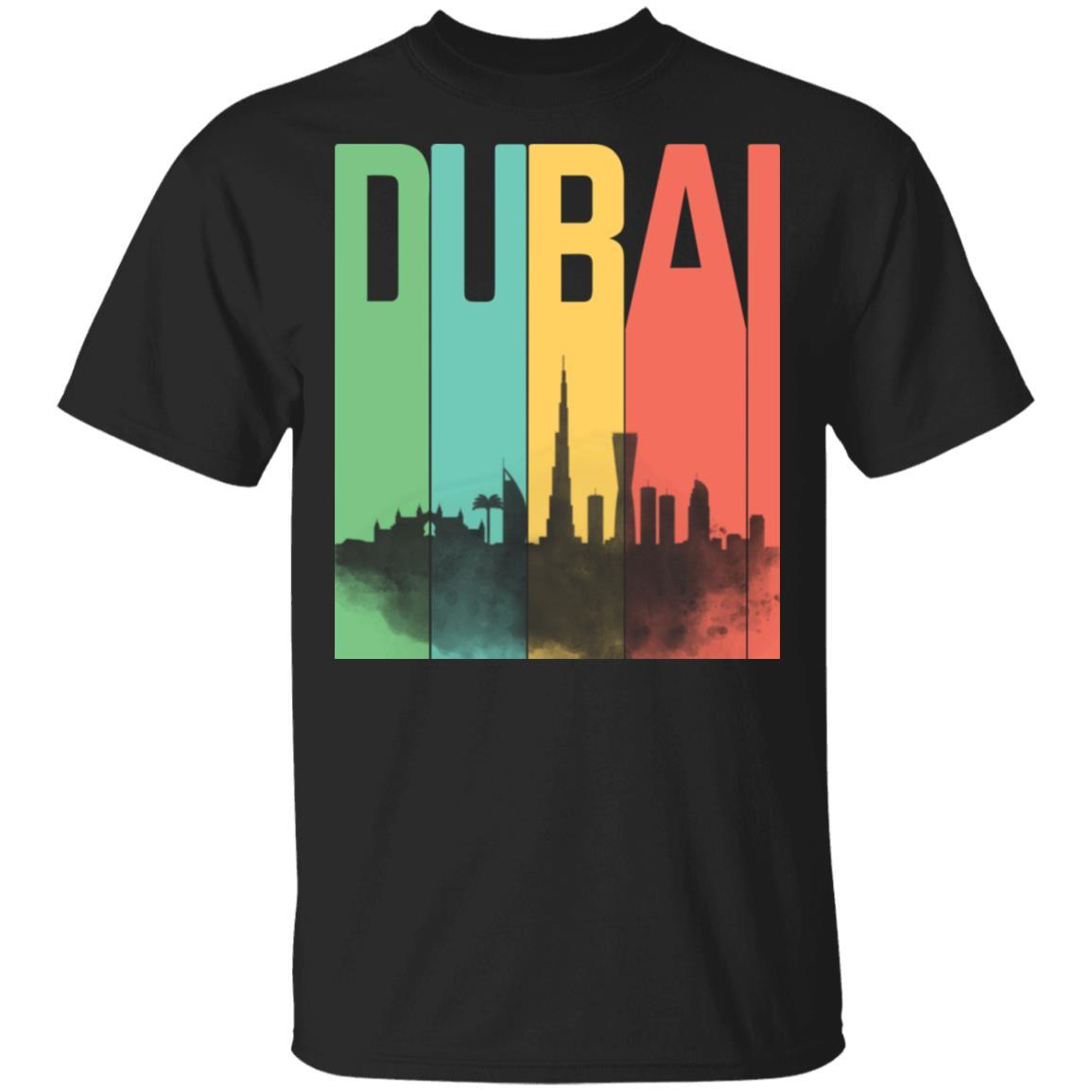 Dubai United Arab Emirates Skyline Retro Style Shirt – T-Shirt